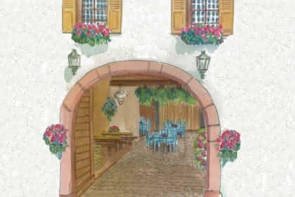Restaurant La Taverne Médiévale, Gueberschwihr, Pays de Rouffach, Vignobles et Châteaux, Haut-Rhin, Alsace